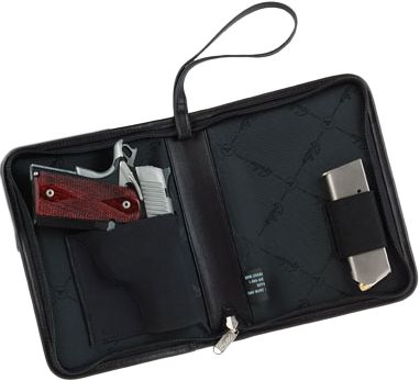 A great choice for business or urban carry, this compact leather case appears to be just a simple day planner. Unzipped, it opens to fit most compact handguns and a spare magazine. Padded to prevent giving away the secret only you need to know about. Features removable wrist strap and durable nickel zipper. Note: This is not a functioning planner. Measures: 8-1/4 x 6-1/2 . Color: Black. - $76.88
