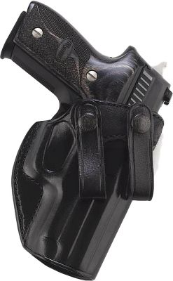 Lightweight and comfortable to carry, this inside-the-pants snap-on-belt holster offers the convenience of being able to be removed without having to take off your belt. Its smooth-out leather rides comfortably alongside your body with a full combat-grip presentation for a quick, sure draw. Constructed of reinforced saddle leather, the holster retains its shape and is built to last. Fits belts to 1.75. Made in USA. Type: Concealed Carry. - $64.99