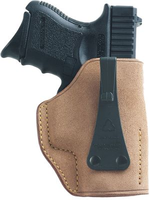 If concealability is a primary concern in a holster, the U.S.A. (Ultimate Second Amendment) is a great choice thanks to Galcos patented Generation III tuckable J-Hook. Its streamlined design hooks over the waistband of your pants and behind your belt, hooking upward to show only a small piece at the bottom. A tucked-in shirt can completely conceal your firearm. The U.S.A. is made with rough-leather-side-out horsehide for excellent stability. Its smooth leather interior offers a fast, easy draw, and the sewn-in leather sight rails protect both the holster and firearms sights. Fits belts to 1.25. Made in USA. Available: SW J Frame, Glock 26/27/33, 1911 3, Glock 19/23/32, Ruger LCP/Kel-Tec. Type: Concealed Carry. - $56.88