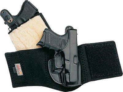 Galcos premium saddle-leather Ankle Glove Holster is ideal for those who need deep concealment or prefer an ankle holster. Wide neoprene ankle band teams with a Velcro closure for extended wearing comfort. Detailed molding secures your weapon. Sheepskin padding between your ankle and the holster offers extra, chafe-free comfort. Reinforced thumb-break for a speedy draw. Fits ankles up to 13 in circumference. Calf Strap can be used with Ankle Glove and Ankle Lite holsters. Made in USA. Color: Black. Color: Black. Type: Concealed Carry. - $19.99