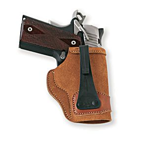 Galcos Tuck-N-Go Inside-the-Pants Holster delivers deep concealment that fits over the pants and behind the belt for quick access to your handgun. Open top ensures a fast draw, while the reinforced mouth makes holstering smooth and easy. Crafted of premium Center Cut Steerhide leather for long-lasting wear. Carries your side arm vertically without a cant. Patented J-hook secures on belts up to 1.5. Made in USA. - $29.99