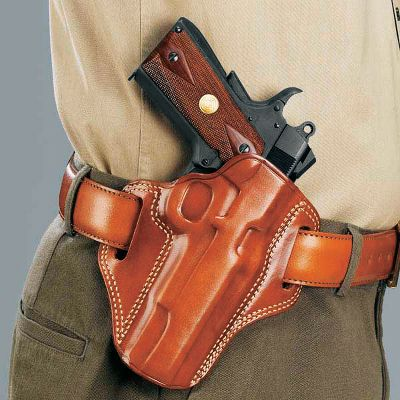 A sharp-looking, ultradurable, tan premium-steerhide-leather holster in a traditional pancake design for wear on your belt. Sturdy double-stitch construction ensures lasting service. It offers full-slide coverage for your semiautomatic pistol with a butt-forward cant to facilitate fast, smooth draws. Fits belts to 1-3/4. Made in USA. Available: Glock 17/22/31 Glock 19/23/32 SW MP 9mm/.40 cal. Springfield XD 9mm/.40/.45 with 4 barrel Model 1911 with 5 barrel Color: Tan. - $79.99