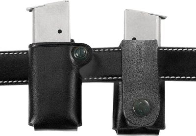 A premium steerhide-leather magazine carrier you can easily put on and take off without having to remove your belt. A one-way snap loop holds it in place on belts up to 1-3/4 wide. Made in USA. Available: Beretta, Sig Sauer, Ruger 9mm/.40/.357 Sig Glock 9mm/.40/.357 Sig Single Stack .45 ACP - $34.99