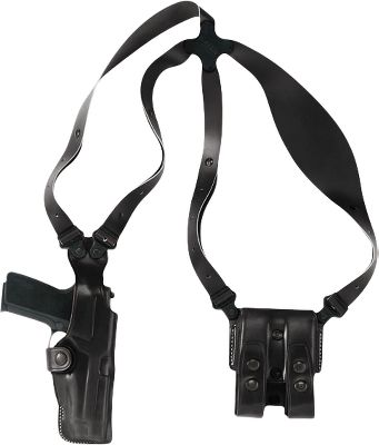 Comfort and durability starts with standard-width full-grain leather harness straps attached at the center with a clover-shaped Flexalon back plate for ease of motion. The harness straps attach to the holster and magazine carrier with a pivoting screw system. The holster and magazine carrier are made of steer hide with secure flaps. Can be worn concealed or over clothing. Can be worn right- or left-handed. Color: Black. Type: Concealed Carry. - $184.99
