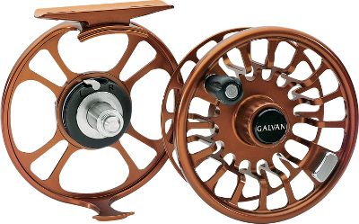 "Flyfishing The wide, large arbor spool and frame have a ventilated design to reduce weight. Drag system is composed of stainless steel, a self-lubricating bushing and state-of-the-art, heat- and wear-resistant thermoplastic material for corrosion-resistant braking control. Large arbor dramatically increases retrieve speed. Line is picked up much more rapidly than with a conventional spool and comes off the reel with less memory. Drag tension remains almost constant as more line and backing are pulled from the reel, thus reducing the chances of breaking off a big fish. Drag knob is solidly detented for precise settings. Safe for use in saltwater. Larger sizes are ideal for use with spey rods. Convertible right- to left-hand retrieve. Color: Bronze. Weight (oz.): 4.8. Type: Freshwater Fly Reels. Reel Model: T-5. Fly-Line Weight: 5-6. Diameter (in.): 3.50"". Capacity: 100 yds./20 lb./WF6. 5. - $269.88"