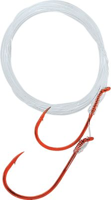 Fishing 6-ft. monofilament mooching rig from Gamakatsu with red octopus hooks to simulate the gill flash fish key on. Per 3. Size: 40 LB. Color: Red. Type: Bait Rigs. - $5.99
