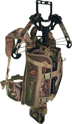 Hunting This redesigned, all-season pack can transport a crossbow, gun or even a bow, making it ideal for treestands, turkey hunting or muzzleloading. It has large storage options along with beefed-up straps and hardware to handle excessive crossbow weight. Its adjustable foam collar secures a forearm or bow riser. Padded drop pocket accommodates crossbow, gun stock or bow cam wheel. Doubles as a padded backrest when wrapped around a tree. Fits up to a 52 waist. Imported. - $75.88
