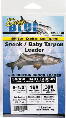 "Fishing This 9-1/2' snook leader features a special dual-tapered design that integrates a heavy butt section for maximum turnover with a pre-tied loop, a class section and an abrasion-resistant bite section. This eliminates junction knots and any uncertainty associated with them, and also makes the leader less likely to pick up weeds and grass. A 30-lb. bite section, 17.6-lb. class section and .027"" butt section. - $9.95"