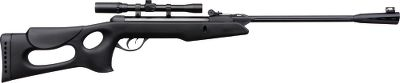 Entertainment Gamo introduces its shot-quieting Whisper Technology in an air rifle engineered for youth with a shorter length and lighter weight than adult models. It shoots Platinum ammunition at velocities up to 750 fps (525 fps with lead pellets). The tough all-weather molded synthetic stock gives it a tactical look, is outfitted with a ventilated rubber recoil pad and has twin cheek pads for comfortable ambidextrous shooting. The single-cocking, break-barrel action features a fluted-steel barrel with a polymer jacket. Manual safety. A 4x20 air-rifle scope with rings is included. Automatic cocking safety system. Imported. Caliber: .177 Trigger pull: 3.3 lbs. Barrel length: 19.4 Overall length: 37.2 Cocking effort: 19 lbs. Weight: 4.63 lbs. Color: Platinum. - $79.88