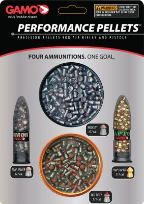 Hunting This combination pack has premium pellets for any air-gun application from plinking and target shooting to competition shooting and hunting. Combo includes: .177 Cal. - contains 4 types of .177 Cal. High Performance pellets: aprrox. 150 RedFire pellets, approx. 150 Rocket pellets, a pack each of approx. 50 Armor/PBA and Raptor/PBA pellets. .22 Cal. - contains 4 types of .22 Cal. High Performance pellets: approx. 100 Rocket pellets, approx. 75 Platinum pellets, a pack each of approx. 25 Armor/PBA and Raptor/PBA pellets. Color: Platinum. Type: Pellets. - $19.99