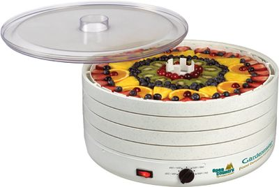 Gardenmaster Dehydrator's fan design is so efficient, it's patented. It forces heated air up and around the edges of the pressurized chamber and across each individual tray, converging on the core for fast, even drying. No tray rotation is necessary, and the quiet 2,400 rpm motor with 5 fan means faster drying up to four-times faster than convection dryers. The thermostat is adjustable from 100 to 155F. Triple-wall insulated trays minimize energy loss and maximize efficiency. Expandable capacity up to 30 trays.Comes with four food-drying trays (additional trays sold separately) and a 64-page drying guide. Weight: 14 lbs. Dimensions: 15-1/4 diameter, 9-1/2 high. - $149.99