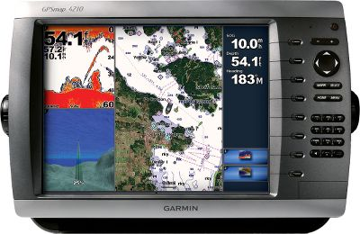 Camp and Hike The 4210 combines the power of networking with a slim-line design. It comes pre-loaded with BlueChart g2 maps of the U.S. coast and displays them in brilliant color on a 10.4 SVGA display with crisp, video-quality resolution. When connected to the Garmin Marine Network, you can add sonar, radar and weather. Also comes preloaded with a worldwide basemap and accepts additional map data via the built-in SD card slot. It has audio/video input and output, three built-in network ports, two video inputs for onboard cameras and a SVGA PC monitor. Dimensions: 8.9H x 13.4W x 4.2D. Display size: 8.3W x 6.3H, 10.4 diagonal. Display resolution: 800 x 600 pixels. Display type: SVGA display. Features: Waterproof to IPX7 standards High-sensitivity receiver External antenna NMEA 0183, NMEA 2000 1,500 waypoints/favorites/locations 20 routes Track log: 10,000 points with 20 saved tracks Garmin radar compatible Garmin sonar compatible Garmin Marine Network compatible Supports AIS (tracks target ships position) Supports DSC (displays position data from DSC-capable VHF radio) Audible alarms Tide tables Sun and moon information 3-D map view with optional BlueChart g2 Vision card Auto guidance with optional BlueChart g2 Vision card XM WX Weather and Radio for U.S. and Canada Audio/video input/output Three built-in network ports Four NMEA inputs (supports NMEA 2000) Two NMEA output Two video inputs for onboard cameras One SVGA PC monitor Includes: GPSMAP 4210 GPS 17x NMEA 2000 Bail mount and knobs Protective front cover Top and bottom snap - $1,899.99