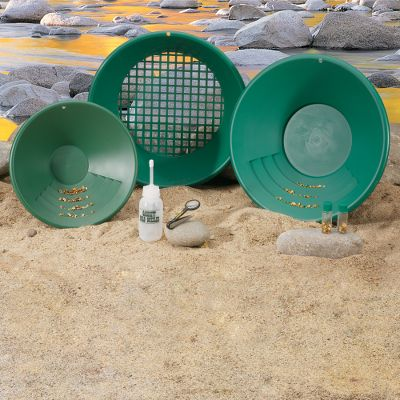 Camp and Hike Prospects of finding a great gift for the hobby miner in your life just got brighter with this complete panning kit. Utilizing Garrett's famous Gravity Trap panning system, the 90 riffled pan design results in safe, consistent and swift gold recovery in wet or dry conditions. The green color enhances gold detection. Kit includes a 14 Prospector Pan, a 10 Backpacker Pan, a Classifier, two Gold Vials, Tweezers and the instructional book, Find an Ounce of Gold a Day by Roy Lagal. Color: Gold. - $29.99