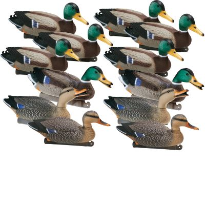 Hunting Make your decoys even more visible to incoming ducks with these Magnum Mallard decoys. These decoys are 18-inches long and larger than standard decoys for more visibility. They feature blow-molded, high-impact plastic construction for lightweight durability. A weighted keel and counterbalance ensure they will stay righted in the roughest chop. The keel is designed with tie-offs at both ends. Front has built-in hook for quick anchor line adjustment. All decoys in the set come with swivel heads. Per 12 (4 hens, 8 drakes). 18 long. Type: Mallard Duck Decoys. - $109.99