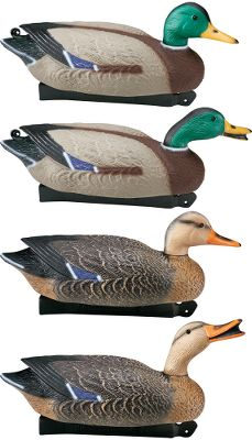"Hunting Incoming ducks will be sure to see these Super Magnum decoys, making your hunts more successful. These oversized decoys feature blow-molded, high-impact plastic construction for lightweight durability. A weighted keel and counterbalance ensure they will stay righted in the roughest chop. The keel is designed with tie-offs at both ends. Front has built-in hook for quick anchor line adjustment. Mallard and Black Duck models have a self-locking adjustable position head. Includes one drake with resting head, two drakes with swimmer/preener heads, one hen with Sassy Suzie greeter head and two hens with resting heads. Per 6. Available:Mallard - 22"" long. - $74.88"