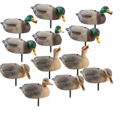 Hunting On the shore or in the cornfield, these oversized decoys are just the ticket for drawing ducks into shooting range. The swivel heads are fully adjustable from left to right, letting you set them in a wide variety of lifelike positions. Durable motion stakes provide a lifelike waddle with the slightest breeze. Molded with realistic feather and wing detail, theyre made from tough, high-quality plastic and painted for long life and all-weather use. Stackable shell construction lets you easily carry dozens out into the field. Comes with eight drakes and four hens. Per 12. Type: Mallard Duck Decoys. - $109.99