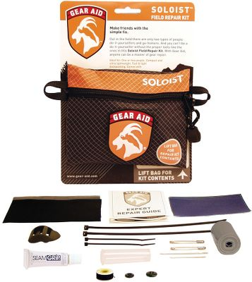 "Camp and Hike Ideal for light backpacking and day trips, this repair kit contains all of the bare essentials for fixing equipment and gear while enjoying the great outdoors. Includes a gear repair manual. Made in USA.Kit includes: 2"" x 100"" duct tape Posigrip cord lock 1"" quick-attach TensionLock Glue stick 3"" x 5"" Nylon-ripstop adhesive patch 4"" x 6"" 420-denier nylon patch Two straight pins 4"" x 6"" No-See-Um mesh netting patch Two 4"" cable ties Three safety pins #18 Sewing needle, chenille #69 Nylon sewing thread bobbin #20 Black button #24 Black button - $9.88"