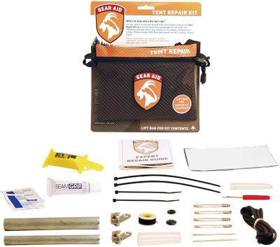 Camp and Hike This compact repair kit can make the difference between a wet or dry outing in the great outdoors. Kit includes 13 products to repair, revive and protect the one thing you need most on a wet, rainy night your tent. Also includes detailed instructions and a tent repair manual.Dimensions: 6-3/4L x 5W x 1-1/4H.Weight: 5 oz.Kit Includes: 1/2 tent pole splint .625 tent pole splint Two No. 8 double zipper slider coils 4 x 6 No-See-Um patch 3 x 10 clear Tenacious adhesive patch Seam Grip 1/4-oz. adhesive No. 69 olive green bobbin No. 18 sewing needle, chenille No. 16 sewing needle, yarn Four safety pins Seam ripper Mirazyme 1/2-oz. enzyme-based deodorizer Two PDI alcohol towelettes Type: Tent Accessories. - $7.88