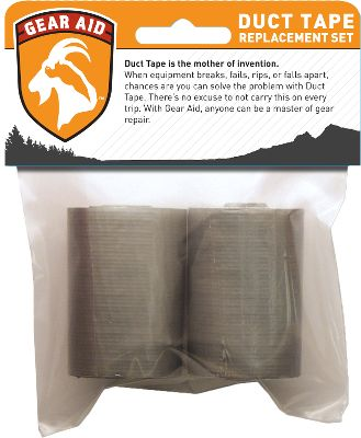 "Camp and Hike A must-have for every trip, this two-roll package of duct tape might save the day when gear breaks, tears or is in danger of getting wet. Lightweight and compact, its an essential product to have in your pack or vehicle that youll be glad to have when you need it. Contains two 2""W x 50""L rolls of tape. Made in USA. - $2.88"