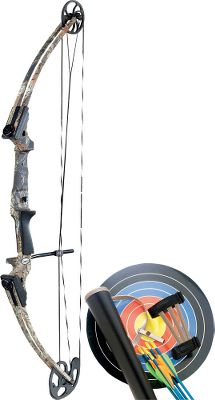 Hunting Crafted with an innovative cam that fits all draw lengths from 15 to 30 and eliminates let-off, the Genesis is the first bow that accommodates young, beginning and adult archers alike. And since let-off is eliminated, it stores and releases energy comparable to a 35-lb. recurve (when set at 20-lb. peak weight). Machined-aluminum riser for rigid lightweight performance. Aluminum Genesis one-cam system with aluminum idler makes for easy tuning. Composite limbs. Molded grip. Stainless steel cable guard. 36 axle to axle. Zero let-off. Kit includes the bow, belt tube quiver, adjustable armguard, five Easton aluminum arrows, two archery target faces and owners manual. Color: Camo. Age Group: Kids. Type: Compound-Bow Starter Kits. - $229.99