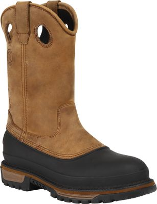 Whether youre in the barnyard or the shop, youll appreciate the pull-on convenience, comfort and safety-toe protection of these tough boots. The shafts are made with premium SPR leather, specially tanned for Georgia to be waterproof and resistant to barnyard acids. Theyll remain supple and good looking after repeated exposures. Top-grade custom-molded TPU shells along with the Georgia waterproof system completely surround your feet to lock out moisture. Under your feet youll find the Georgia-exclusive removable polyrethane Comfort Core Air Flow orthotic footbeds for superb, long-lasting cushioning and air circulation. Full EVA midsoles and compression-molded EVA inserts in the forefeet and heels reduce weight while adding cushioning. The all-rubber weave-design outsoles give maximum surface contact and have self-cleaning grooves with ladder-shank lugs. Meets ASTM F2413-11 I/75 C/75 Protective Toe Classification and ASTM F2413-11 Electrical Hazard Standard. Imported. Height: 11. Average weight: 5.8 lbs./pair. Mens sizes: 8-13 medium and wide widths. Half sizes to 12. Color: Light Brown. Size: 11.5. Color: Light Brown. Gender: Male. Age Group: Adult. Material: Leather. - $164.99