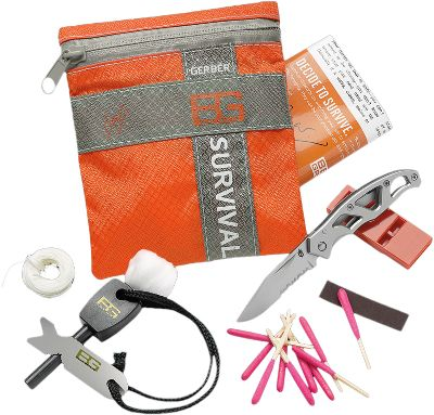 Camp and Hike Available: Basic Kit Weighs only 4.2 oz. and includes: a 4.5 x 5 ripstop-nylon bag; Gerber Mini-Paraframe knife; emergency whistle; fire starter; waterproof matches; waterproof bag; snare wire; emergency cord; cotton balls for fire tinder; land-to-air rescue and S.O.S. instructions; and a survival guide. Ultimate Kit Weighs only 9.4 oz. and includes: a 4.5 x 6.8 ripstop-nylon bag; fire starter; waterproof matches; waterproof bag; snare wire; emergency cord; cotton balls for fire tinder; miniature light; handsaw; signaling mirror; survival blanket; waxed thread; fishing kit; sewing kit; land-to-air rescue and S.O.S. instructions; survival guide; Gerber miniature multitool with needle-nose pliers; wire cutters; fine-edge and serrated knife; Phillips screwdriver; small and medium flat-head srewdrivers; lanyard ring; bottle opener; and tweezers. - $54.99