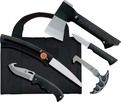 Camp and Hike For years hunters have relied on Gerber tools and knives in the field, and this kit gives you the chance for substantial savings over buying these excellent items separately. You get a Gator Axe with a 7 caping knife that stores in the handle, a Gator II folding knife with a gut hook for field dressing, an EZ saw and a sliding bone saw to prepare your game for a managable pack-out or storage. Everything comes in a ballistic nylon portfolio-style carry case, and each implement (except sliding bone saw) has its own sheath so it can be carried separately if needed. Youd spend over $100 to buy each of these items separately, which makes the kit at this price an exceptional value. Cabelas Exclusive. Made in USA. Type: Combos. - $79.88