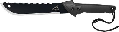 Camp and Hike The Gator Machete is a combination of a 18 machete blade and 15 saw thats ideal for those times when the heaviest brush and timber stand in your way. The gator rubber grip ensures ergonomic control. The Gator Machete Jr. has the same features as the Gator Machete with a 13-1/2 machete blade and 9-1/2 saw blade. The Gator Machete comes with a riveted nylon sheath and the Gator Machete Jr. a plain nylon sheath for safe, durable transport. Available: Gator Machete overall length: 25-3/4. Blade length: 18. Weight: 18 oz. Gator Machete Jr. overall length: 19. Weight: 14.3 oz. Color: Black. Type: Machetes. - $21.99