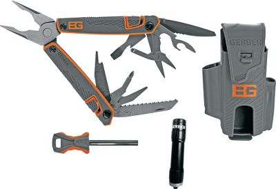 Camp and Hike In a world where its man vs. wild, Bear Grylls knows how to survive on bare essentials. He would consider this multitool with LED flashlight and fire-starter rod as one of those essentials. Legendary Gerber quality survives the demands of heavy use to be reliable when you need it most. Comes with sheath for multitool, flashlight and fire-starter rod. Imported. Includes: Needlenose and regular pliers Wire cutters Partially serrated blade Bottle opener Can opener Nail file Phillips screwdriver Small flat screwdriver Medium flat screwdriver Scissors Saw blade Type: Multi-Tools. - $71.88