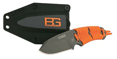 Camp and Hike Gerbers legendary knife- and gear-making expertise combines with the outdoor survival knowledge of Bear Grylls to develop a knife series built to give you an edge in any outdoor adventure situation. Textured, molded-rubber grips give you a sure hold in any weather. Full-tang construction ensures exceptional durability and strength. Includes 60 of paracord and a slim, Kydex-like sheath. Blade length: 3.25. Overall length: 7.75. Weight: 3.8 oz. - $39.99