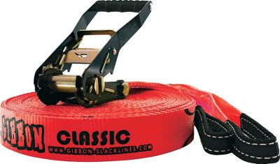 Camp and Hike Enjoy tightrope fun, hone your balancing skills and learn to perform tricks on this 2-wide, low-to-the-ground strap. It comes with reinforced loop slings and a ratchet with a safety lock to stretch the line between two trees or sturdy poles. The ratchet provides up to 6-1/2 ft. of length adjustment. Sturdy custom-weave ballistic material handles tension up to 4 tons. Quick and easy to set up and take down. Imported. Available: 49-ft. length (15m) 82-ft. length (25m) - $79.88