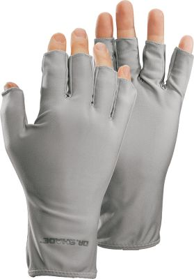 Protect your hands from dangerous UV rays with constant 50+ UPF hand protection that won't wash off and never needs to be reapplied. Dr. Shade Sun Gloves are the lightest gloves in their class. All four-way stretch Lycra construction with an extended cuff. Open fingertips for dexterity. Imported. Sizes: S/M, L/XL. Color: Gray. - $9.88