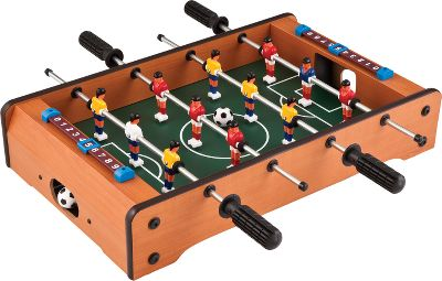 Tabletop foosball game provides hours of fun, and is easily stored away when not in use. Compact, lightweight design is great for use at home or on the road. Each side has two rods with soccer players and goalies. Manual scoring and ball return on both ends. Game comes with two soccer balls. Dimensions: 25L x 20W x 4H. - $39.99