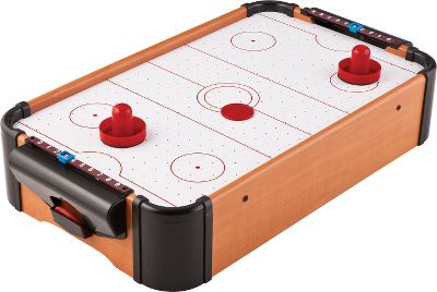 Sports Get ready for a fast-paced battle right on your tabletop! This miniature air hockey rink features an air-powered rink, dual puck returns and manual scoring, making it suitable for hours of entertainment for all ages. Solid airflow provides realistic air hockey action. Easily stores away, out of sight, when not in use. Lightweight and runs on 8 AA batteries (not included) so no power cords are necessary great addition to any social event or the cabin. Includes two pushers and one puck. Dimensions: 20L x 12.5W x 4.5D. Weight: 5.5 lbs. - $39.99