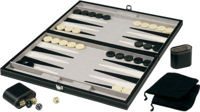 Backgammon is one of the oldest known games in the world, and now you can have your own set of this classic game for your home, cabin or lodge. The backgammon game comes in a beautiful, black leatherette storage case with complementary double-reverse white stitching and silver metal clasps. A luxurious suede and leather interior and game board playing surface make it a family keeper for generations, as well as a great addition to any home dcor. This set also includes two matching leatherette dice cups, two pairs of dice, large backgammon playing pieces, one backgammon doubling cube and instructions on how to play. Open dimensions: 23H x 18W x 1D.Closed dimensions: 11-1/2H x 18W x 2D. - $59.99