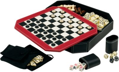 Five traditional games are packed into a unique, stylish package perfect for any home, lodge or cabin board-game arsenal: backgammon, chess, checkers, dominoes and poker dice. This 5-in-1 combo game features a reversible cover with chess, checkers and backgammon surfaces; the cover fits over a sectional base that separates game pieces. The storage case is a beautiful leatherette style with double-reverse white stitching. There are two matching leatherette dice cups and three drawstring bags for storing game pieces. Includes one backgammon double cube, two pairs of dice, one set of double-six dominoes, one set of five poker dice and instructions on how to play each game. Dimensions: 12-3/4L x 12-3/4W x 2-1/8D. Color: White. - $64.99