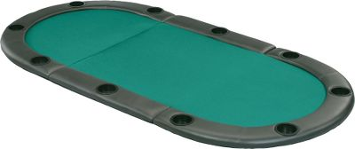 Entertainment Turn just about any flat surface into a poker table in an instant. The oval, tri-fold design unfolds quickly and easily to lay flat when youre ready to throw out some cards and chips! The extra-thick, water-resistant, cushioned rail has 10 built-in drink holders, and the green felt playing surface gives it an authentic look and feel. The perfect solution for spaces that cannot accommodate large, installed poker tables great for cabins and RVs! Folds up easily and out of the way when the game is over, and has a durable strap with heavy-duty snaps to secure the top when folded. Open dimensions: 83-1/2L x 41-1/2W x 2H. Folded dimensions: 28-1/4L x 41-1/4W x 4-1/2H. Color: Green. Type: Table Top Games. - $249.99