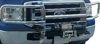 This modular-style Winch System Grille Guard provides a heavy-duty and compact base, comes with two 1/4 laser-cut uprights, two 1/2 steel cross bars and is frame mounted. Compatible with most 12V winches including Mile Marker and Warn. Chrome finish. 3-year warranty. Headlight brush guards not included. - $749.99