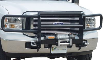 This frame-mounted, 14-gauge-steel brush guard gives heavy-duty protection to the front of a vehicle with two 1/4 uprights and two 1/2 crossbars. Compatible with most 12-volt winches, including Mile Marker and Warn. Black powder-coated finish. 3-year warranty. Headlight guards not included. Year: 10-12. Type: Grille Winch System. Make/Model: Ram HD. Make: Dodge. Year/Make 10-12 Ram Hd. - $749.99