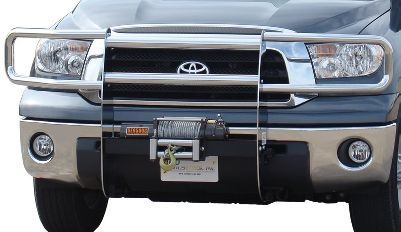 This frame-mounted, 14-gauge-steel brush guard gives heavy-duty protection to the front of a vehicle with two 1/4 uprights, two 1/2 crossbars. Headlight guards not included. Compatible with most 12-volt winches, including Mile Marker and Warn. Rugged, bright-chrome finish. 3-year warranty. - $949.99