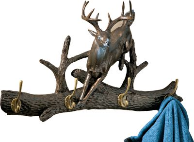 Hunting Hang up to four coats or sweaters in style on a rack that captures an inspiring image of the forest. These handsome coat racks give the entrance to your home or cabin a touch of rustic outdoor ambience. Theyre also highly functional and built to last. Handcrafted of durable cast resin with four metal hooks. Sturdy hanging hardware included. Imported.Weight: 9 lbs.Dimensions: 14.9H x 24.3W x 7.5D.Available: Whitetail, Elk. Type: Coat Racks & Hooks. Design Whitetail. - $20.96