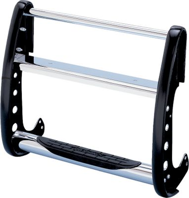 Is it a hassle to check the oil or wash and dry the hood of your tall truck or SUV? Not any more when you install a polished chrome, frame-mounted StepGuard Grille Guard, featuring a patented, built-in step. The step is compressed into the tubular steel, not cut out, for added strength. An oversized pad on the step helps maintain sure footing. No-drill installation instructions that are customized for each different make and model are included. Five-year warranty. Made in USA. Type: Grille Guard. - $399.99