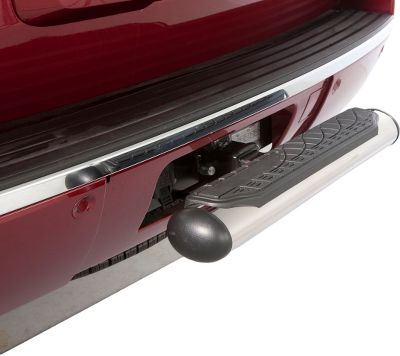 Get a step up for easier access to the bed of your truck or roof rack of your SUV or van with this hitch-mounted tube step. Installs in seconds to any 2 receiver hitch. Also adds extra protection to molded bumpers in the event of a minor impact. Hitch pin with clip included. Dimensions: 24L x 4 oval tube. Color: Stainless Steel, Black (not shown). Color: Stainless Steel/ Black (not shown). - $47.88