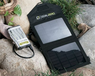 Camp and Hike Goal Zeros Guide 10 Plus Mobile Kit features the Nomad 3.5 Solar Panel and the Guide 10 Plus rechargeable battery pack. Use the Nomad 3.5 to charge your handheld device from the sun or charge the Guide 10 plus battery pack and store power for later. Forget about buying alkaline batteries. With this system, you can recharge AA or AAA batteries. Comes equipped with a handy built-in LED flashlight. Nomad 3.5 Solar Panel is rugged and portable. Pocket protects gear while charging. Tech Specs Guide 10 Plus Battery PackApprox. Charge Time:Any USB Power Source: 8-10 hoursGoal Zero Nomad 3.5 (solar port): 6-8 hoursGoal Zero Nomad 7 (solar port): 2-4 hoursInputsUSB: mini port 5V, 0.7A max (3.5W)Solar port: 6.5V, 1.5A max (7W)OutputsBatteriesFour AA or AAA** NiMH cellsUSB: Standard Port 5.0V, 1.0A max (5W)Flashlight: 100mW white LED, 100+ hours*InternalBattery Capacity: 10 Wh*, use only NiMH cellsLifespan: hundreds of cycles*Shelf Life: 12 months*GeneralWeight w/Batteries: 0.4 lbs (0.18 kg)Dimensions: 2.5 x 4 x 0.75 in (6 x 10 x 2 cm)Warranty: 12 MonthCertificationsFCC and CEOptimal Operating Temp.32-104F (0-40 C)*When using Goal Zero NiMH rechargeable low self-discharge AA cells.**AAA Cells require an adapter, which is included with AAA battery purchase.Tech specs Nomad 3.5 Solar PanelCharges the following:Goal Zero Guide 10 plus: 6-8 hoursCellphone, mp3 player: 2-5 hoursInputsSolar Panel Rated Wattage: 3.5WCell Type: MonocrystallineOpen-circuit voltage: 6.5-7VConverting Efficiency: 17-18%Cell Area: 0.0199 m2OutputsUSB Port: 5V, 0.5A max (2.5W), linear regulatedSolar Port (for Guide 10 plus): 6-6.5V, 0.5A max (3.0W), not regulatedGeneralWeight: 0.5 lbs.Dimensions (folded): 7 x 5.5 x 1.Dimensions (unfolded): 14 x 7 x 0.5.Warranty: 12 MonthsCertificationsFCC and CEOptimal Operating Temp.32-104 F Type: Solar Charger. - $94.88