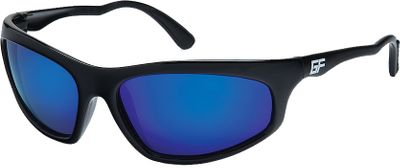 Fishing These sporty and durable polarized sunglasses improve your visual performance when youre out on the water reeling in a big one. The Diamond Hard polarized finish gives the lenses durability while eliminating glare and blocking 100% of UVA/B/C rays. The lenses are also shatter- and scratch-resistant, and the floating airframes provide reassurance that your glasses wont end up at the bottom of the lake. Ergonomic temples fit around your ears comfortably, and the wider, deeper lenses are reminiscent of these glasses' namesake. Limited lifetime warranty. Type: Polarized. Frame Color: Shiny Black. Gender: Men's. Fits Size: M/L. Lens Color: Blue Mirror. Lens Color Blue Mirror. Style Shiny Black Frame. - $34.99