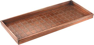 Camp and Hike This boot tray will help keep your floors free of mud and debris from dirty footwear. Intriguing designs adorn the inside of the tray. Galvanized steel is powder-coated to withstand the elements for years of use. Charming Venetian-bronze finish adds an aesthetic appeal. Imported. 34L X 14W X 2-1/2H. Available: Pine Cones. - $49.99