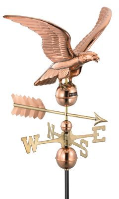 Camp and Hike Smaller than a traditional rooftop weather vane, it adds a wonderful decorative accent to your yard or garden when displayed on a pole. You can also put it on your deck or on a smaller outbuilding structure like a garden or tool shed using the included aluminum roof mount. A patriotic version modeled after the American flag. Dimensions: 24L x 11H. Type: Weather Vanes. Style Flag. Design Aluminum. - $139.99
