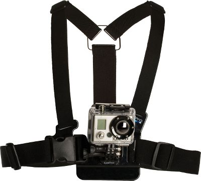Entertainment Capture your next outdoor adventure from the most immersive point of view possible the center of your chest. While skiing, you'll see your knees and skis in action. While biking, this vantage point includes arms and handlebars. Chest mount is compatible with all GoPro quick-release cameras (not included). Made of durable nylon webbing with polycarbonate and stainless steel hardware, this fully adjustable harness system even fits over large jackets. Imported. Color: Stainless Steel. - $39.99