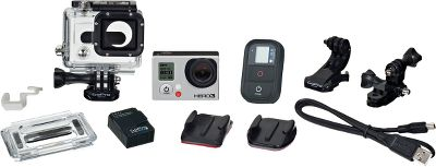Entertainment The GoPro Hero3: Black Edition 12MP Camera is an adventure-capturing, wide-angle camera that takes clear, 1080p HD video at a whizzing 60 frames per second.It can also take 12MP photos in 30-frames-per-second bursts. Small and light in a wearable, mountable design. Integrated Wi-Fi enables remote control, live-video previews and playback on smartphones and tablets. Stereo microphones and professional low-light performance. Rugged housing is waterproof to 197 feet. Integrated 1050 mAH lithium-ion battery runs unit up to two hours when fully charged. Compatible with GoPro mounts and LCD Touch BacPac (not included).The GoPro Hero3: Black Edition includes: camera, wireless remote control, one rechargeable battery, one charging cable, one curved adhesive mount, one flat adhesive mount, one three-way pivot arm, one quick-release mount and mounting hardware. - $329.99