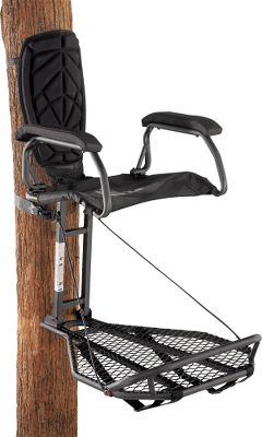 Hunting An uncompromising blend of strength, performance and superior comfort, this is one of the best hang-on stands anywhere. Super-strong, welded-steel construction with a slip-resistant coating. The flip-up, sling-style XPE zero-G seat is one of the most advanced in the industry and optimally engineered for comfort during all-day hunts. High-density foam-padded armrests add to the comfort. The XLS eXtreme Leveling System keeps the platform from sloping with the tree angle, and it has an adjustable V-brace for precise leveling. One-piece footrest. Adjustable backpack straps.Stand is tested to TMA standards and includes a full-body safety harness with Suspension Relief System (SRS). Imported. Seat height: 22.Platform size: 30L x 24W.Weight: 28.8 lbs. Weight capacity: 300 lbs.Camo pattern: Mossy Oak Treestand. A Video Public Service Announcement from theTREESTAND MANUFACTURERS ASSOCIATION - $159.88